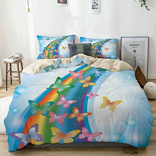 Juego de funda nórdica beige, fondo colorido con mariposas arcoíris, burbujas, hadas, gráfico alegre, decorativo, juego de cama de 3 piezas con 2 fundas de almohada, fácil cuidado, antialérgico, suave