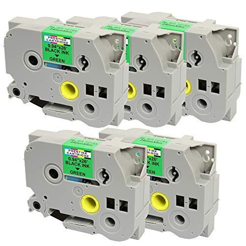 5 Casetes de Cinta compatibles con Brother TZe751 TZ751 Negro sobre Verde 24mm x 8m para Brother P-Touch PT-2430PC 3600 9600 9700 9800 D600VP D800W E300VP E550WVP E850 H500 H500LI P700 P750W P750WVP