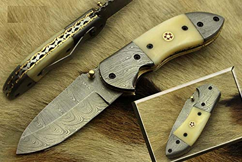 7 inches Long Folding Knife, Natural Camel Bone Scale Folding Knife, Hand Forged Damascus Steel Blade Camping Knife, Comes with Cow Hide Leather Sheath with Belt Loop
