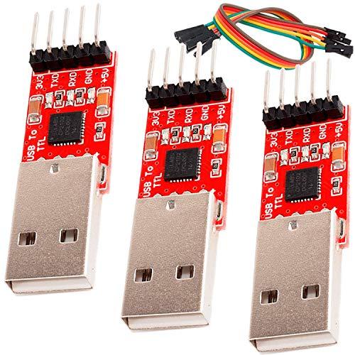 AZDelivery 3 x CP2102 USB zu TTL Konverter HW-598 für 3,3V und 5V mit Jumper Kabel kompatibel mit Arduino inklusive eBook!