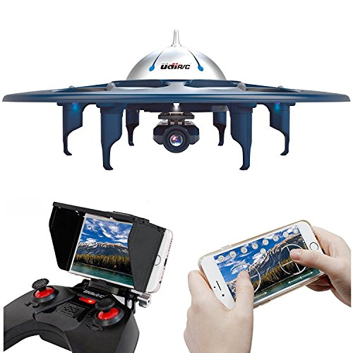 UDI RC U845 WiFi FPV UFO Drone with 720P HD Camera RC Quadcopter with One Key Take-off / Landing Gravity Induction Includes Bonus Battery