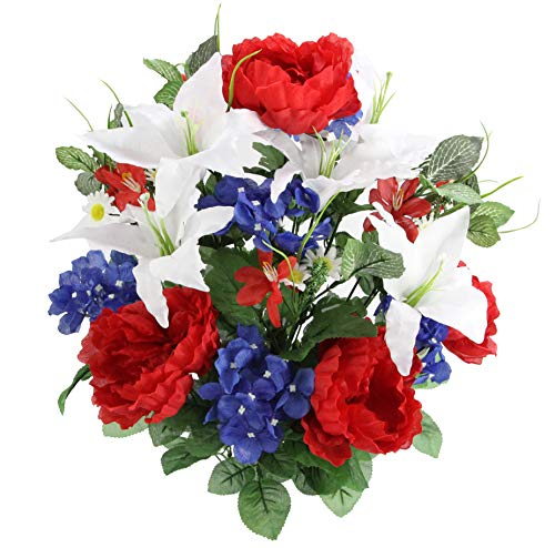 Admired By Nature Full Blooming Tiger Lily, Peony & Hydrangea with Green Foliage Mixed Artificial Flower Bush, Medium, Red/White/Blue