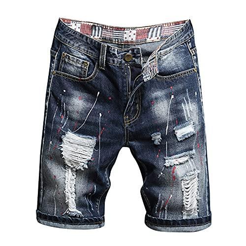 Corlidea Herren Jeans Shorts Mit Löchern Zerrissen Denim Hose Männer Kurz Ripped Risse Jeans Vintage Zerrissen Destroyed Jeanshose