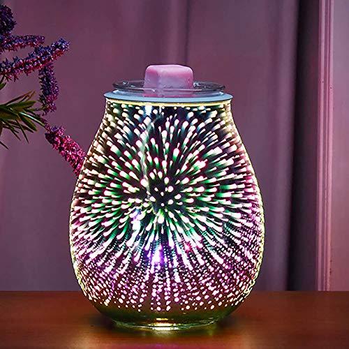TTAototech Elektrische Duftlampe aus Glas, RGB-Feuerwerk-Effekt, Aromatherapie-Lampe, 3D-Feuerwerk, Aromalampe für Zuhause, Büro, Schlafzimmer, Wohnzimmer, Geschenke (RGB Feuerwerk)