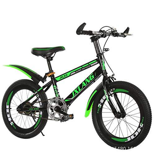 Silvertree - Bicicleta infantil de 18/20/22 pulgadas, velocidad variable para niños de 6 a 12 años, con botella de agua, bolsa, freno de mano y cesta (verde oscuro, 18 pulgadas)