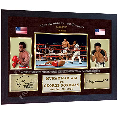 S&E DESING Muhammad Ali George Foreman The Rumble in The Jungle Signed Autographed Boxing Photo Print Big George v The Greatest Framed