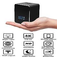スリーインワン4K高精細ガラスミラーカメラWIFI電子時計GPSの動き検出デスクトップ電子目覚まし時計最大メモリ128ギガバイトTFカメラ,32GB