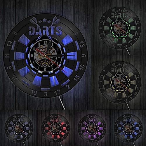 XYVXJ Juego de Dardos Pub Disco de Vinilo Reloj de Pared Hombre Cueva Sala de Juegos Decoración Reloj de Pared Retro
