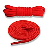 Junlic Schnürsenkel Rund, [3 Paar] Reißfest Ersatz Schuhbänder 100% Polyester 6 mm breit Schnürsenkel für Sportschuhe und Sneaker Rot