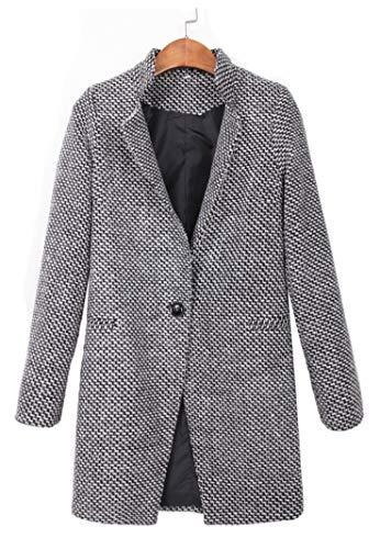 Botanmu Mujer Abrigo de Lana Chaqueta Corta de Invierno Trench Coat Gabardina Clásica