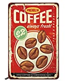 Swono Premium Coffee Tin Signs,Roasted Coffee Beans on Rusty Metal Red Background Vintage Metal Tin Sign for Men Women,Wall Decor for Bars,Restaurants,Cafes Pubs,12x8 Inch