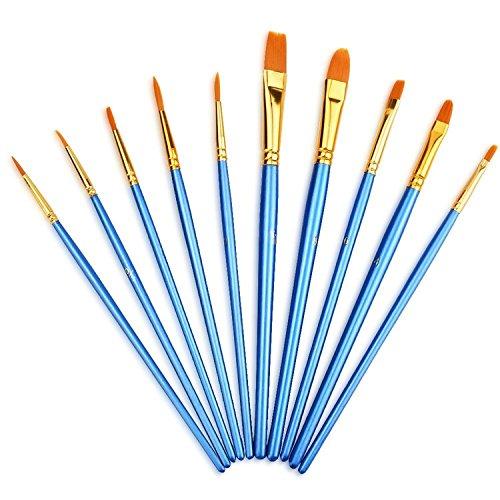 YXQSED Set de 10 Piezas de Pinceles para Pintura de Acuarela y Óleo de Acrílico,Cepillo de Acuarela Agua Plumas de Arte Cepillo de Pintura Dibujo, Diseño y Manualidades (Conjunto azul)