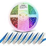 GIDERWEL RGBWW LED Streifen 12V Farbwechsel Dimmbar RGB Kaltweiß Warmweiß LED Lichtstreifen, 5m 6 Draht RGBCCT LED Farbstreifen Vollfarbiger Flexibler Ambiance LED Lightstrip Plus