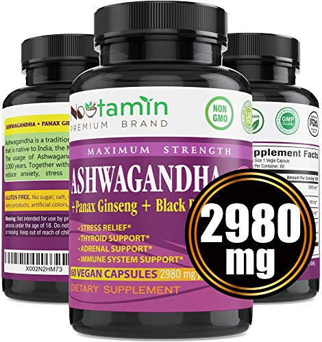 Ashwagandha 2980 mg - 60 Vegan Capsules Pure Organic Powder & Root Extract + Panax Ginseng + Black Pepper - Natural Stress Anxiety Relief, Mood Enhancer, Adrenal & Thyroid Support - 2 Months Supply