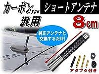 A.P.O(エーピーオー) カーボンアンテナ シルバー 8cm 汎用シームレス ショートアンテナ 80mm車載用 ユーロ ネジ径M5 M6