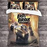 QWAS Fast and Furious - Ropa de cama con impresión 3D, funda de edredón para las series de televisión de carreras,
