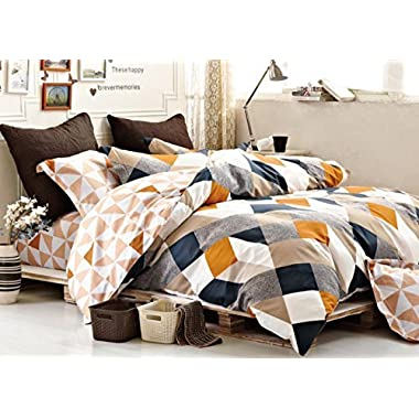 Minimal Style Geometric Shapes Duvet Quilt Cover Modern Scandinavian Design Bedding Set 100-percent Cotton Soft Casual Reversible Block Print Triangle Pattern (King, Copper)