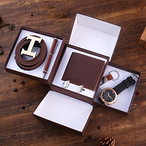 YUTR 6 pezzi/set set regalo boutique cintura+ portafoglio+ gemelli+ portachiavi+ orologio al quarzo con quadrante grande + penna regalo di compleanno per la festa del papà (Color : Brown)