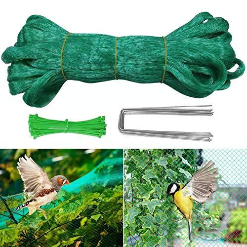 Hongyans Malla Antipajaros 11m x 3m Red de Malla Resistente Red Antipajaros Redes de Protección para Jardín Arboles Frutales Plantas Verduras con 10 Clavijas Jardin y 100 Bridas para Cables