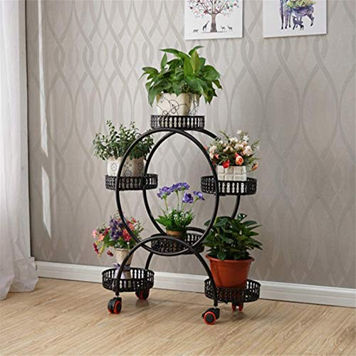Soporte para plantas Estante para macetas Floral Floral Soporte de estilo europeo hierro de hierro forjado Cojín de esquina de la esquina sala de estar estantes móviles simple jardín balcón bonsai est