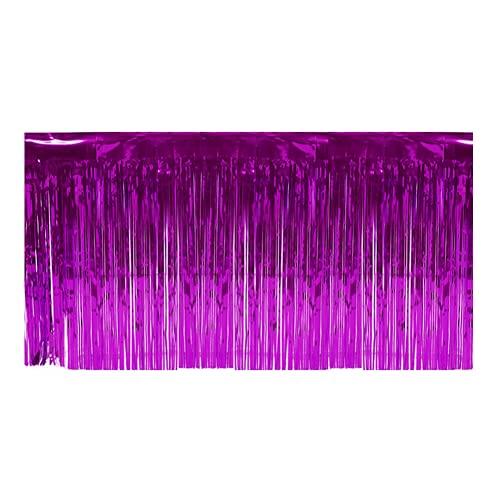 Falda De Mesa De Papel De Aluminio, Borla Brillante, Reutilizable, Duradera, De Oropel para Mesa Redonda O Rectangular para Decoración De Eventos Y Fiestas(púrpura)