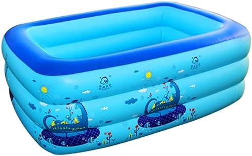online al mejor precio JINMM Piscina Hinchable Familiar,Swim Pool Family,Piscina Rectangular Deluxe para Niños, Niños, Niños, Fácil De Montar, 140x110x60cm,azul-140x110x60cm  venta de ofertas