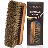TAKAVU 6.7' Horsehair Shoe Shine Brush - 100% Soft Genuine Horse Hair Bristles - Unique Concave Design Wood Handle - Comfortable Grip, Anti Slip - for Boots, Shoes & Other Leather Care (#1)