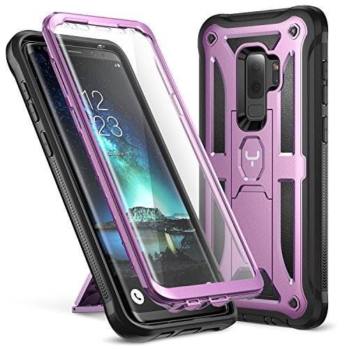 YOUMAKER Galaxy S9+ Plus Case, Full-Body Rugged Kickstand Case with Built-in Screen Protector Heavy Duty Protection Shockproof Case Cover for Samsung Galaxy S9 Plus 6.2 inch (2018) (Metallic Purple)