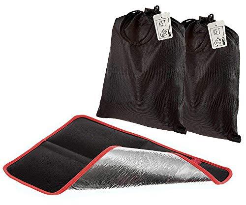2X Alu Isolier Sitzkissen (Doppelpack) | Faltbares Iso-Sitzkissen | gepolstertes Thermo Kissen mit praktischer Tasche für Outdoor, Camping und Wandern (2er Set schwarz/rot)