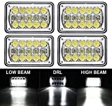 COWONE 4Pcs 2020 Newest 60W Cree Brightest 4X6' inch Chrome Rectangular LED Headlights Replacement for H4651 H4652 H4656 H4666 H4668 H6545 Kenworth T800 T400 T600 Peterbilt 357 378 379 FREIGHTLINER