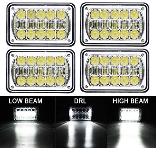 """COWONE 4Pcs 2020 Newest 60W Cree Brightest 4X6"""" inch Chrome Rectangular LED Headlights Replacement for H4651 H4652 H4656 H4666 H4668 H6545 Kenworth T800 T400 T600 Peterbilt 357 378 379 FREIGHTLINER"""