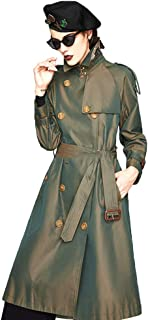 Women's Causal Double Breasted Spring Fall Long Trench Coat with Belt,Classic Waterproof Overcoat with Belt Female,Three Colors Optional,Green,XS