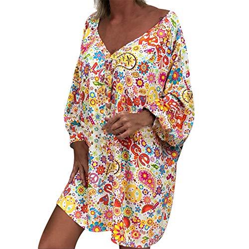 Womens Vintage Floral Printing Long Sleeve V-Neck Casual Women Knee Length Dress Plus Size Beach Dress White