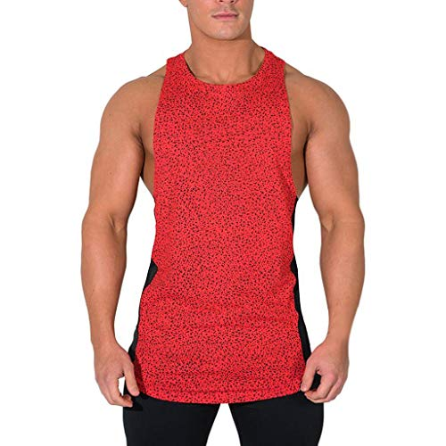 Mens Gym Loose Quick-Dry Fitness Vest, MmNote Muscle Fitness Technology Lightweight Microfiber Bodybuilding Stringer Tank Red