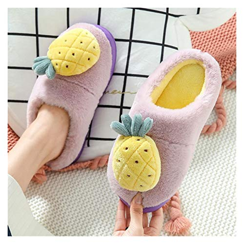 Zapatos caseros zapatillas de interior Mujeres pantalones de felpa invierno cálido dibujos animados frutas piña fresa suela suave zapatos planos interior dormitorio damas toboganes memoria acogedora d