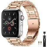 Netolo Metallo Compatibile con Cinturino Apple Watch 44mm 42mm 45mm, Cinturino in Acciaio Inossidabile Compatibile con Cinturino Apple Watch SE/iWatch Serie 7 6 5 4 3 2 1, 42mm/44mm/45mm Oro Rosa
