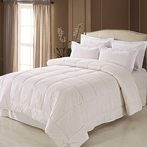 Fresh Ideas Washable Australian Wool Filled Cotton Comforter, Hypoallergenic Bedding, King