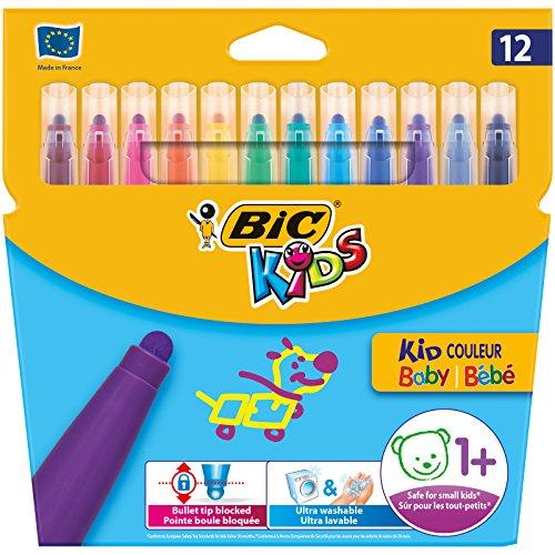 BIC Kids Kid Couleur Baby rotuladores de colores Punta Extra Ancha – colores Surtidos, Blíster de 12 unidades