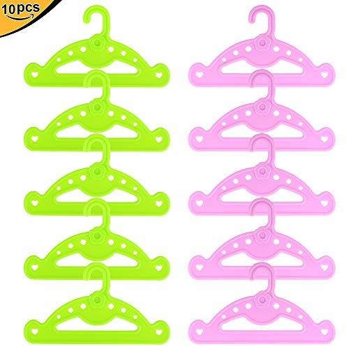 ZITA ELEMENT 10er Kunststoff Kleiderständer Kleiderbügel Aufhänger für Puppen 14-18-20 Zoll American Doll und Andere 35-46cm Puppe Kleidung Zubehör Wäschebügel Puppenkleidung