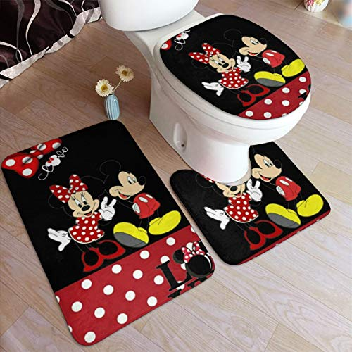 Bathroom Rug Set 3 Piece, Stylish Love Minnie & Mickey Print, Non Slip Bath Mat + U-Shaped Contour Rug + Toilet Lid Cover