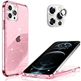Hoerrye Compatible with iPhone 12 Pro Max Phone Case for Women, [3 x Camera Lens Protector][PC Hard Cover, Military Grade Protection] Never Yellow Full Cover 6.7' Accessoriess - Glitter Pink