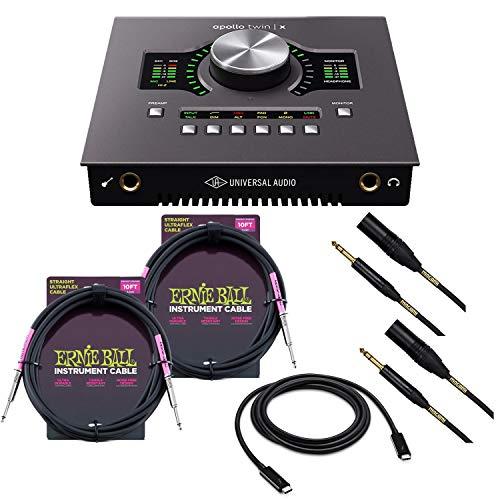 Universal Audio Apollo Twin X Quad Heritage Edition, Thunderbolt 3 Cable, (2) Mogami XLR to 1/4, (2) ErnieBall 1/4 Cables Bundle