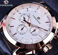 Forsining レトロクラシック カジュアルメンズ腕時計 自動機械式腕時計 海外トップブランド(ホワイトゴールド)
