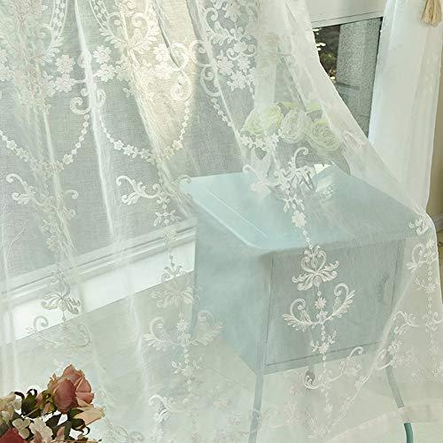 Nvfshreu Modern Elegant Blumen Gestickte Gardienschals Transparent Tulle Voile Fenster Vorhang Einfacher Stil Mit Ösen 100X250Cm (Color : Through Rod, Size : Size)