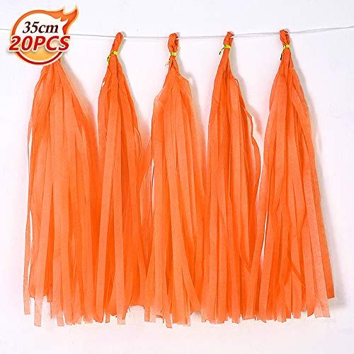 Bining Orange Tissue Paper Tassel DIY Hanging paper decorations Party Garland Decor for Party Decorations Wedding,Festival,Baby Shower Decoration 20PCS (light Orange-35CM)
