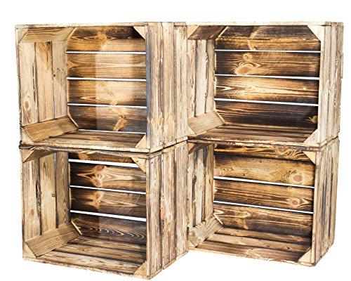 4er Set - flammbierte Obstkiste 50x40x30cm