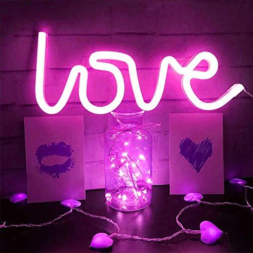 AOK DOOR Neon Lampe Neon Deco Accueil Décoration Lumières pour Mur Applique Murale au néon Accueil Lumières Décoratif pour Mur Pink Love