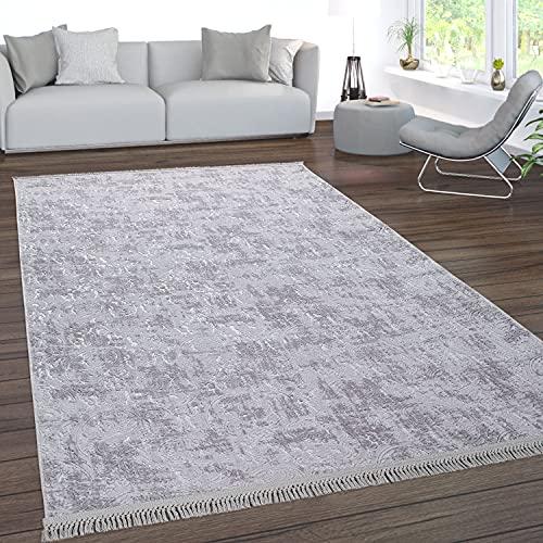 Paco Home Teppich Wohnzimmer Kurzflor Waschbar 3D Effekt Modernes Orientalisches Muster, Grösse:150x230 cm, Farbe:Grau
