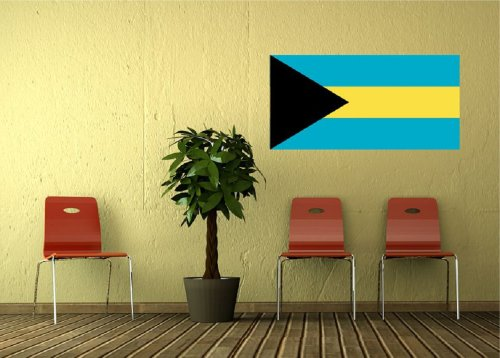 Kiwistar Wandtattoo Sticker Fahne Flagge Aufkleber Bahamas 80 x 40cm