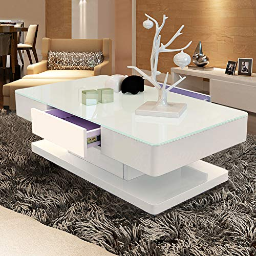 TUKAILAI Living Room High Gloss Glass Coffee Table with Clear Tempered Glass and 2 Storage Drawers Large Wooden Rectangular Sofa End Tea Table for Office Waiting Reception Home Furniture